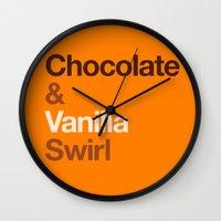 oitnb Wall Clocks featuring Chocolate & Vanilla Swirl OITNB by Maria Giorgi