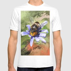 Bee on flower 18 White MEDIUM Mens Fitted Tee