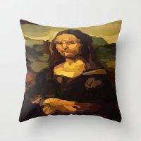 mona lisa Throw Pillows featuring Mona Lisa by Robert Morris