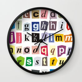 Alphabet cut out of paper Wall Clock