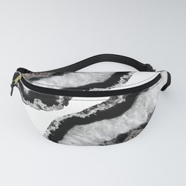 Gray Black White Agate Glitter Glamor #4 #gem #decor #art #society6 Fanny Pack