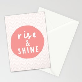 Rise and Shine inspirational quote typography wall art home decor in peach pink Stationery Cards