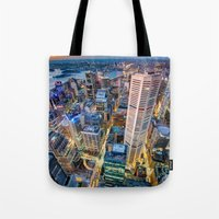 sydney Tote Bags featuring Sydney by Gareth Cooper