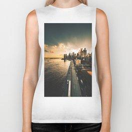 nyc skyline at dusk Biker Tank