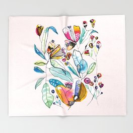 Flowers in the Wind Throw Blanket