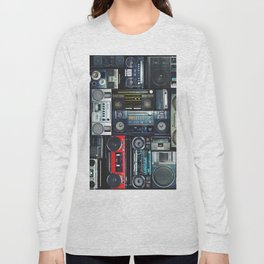 Vintage wall full of radio boombox of the 80s Long Sleeve T-shirt