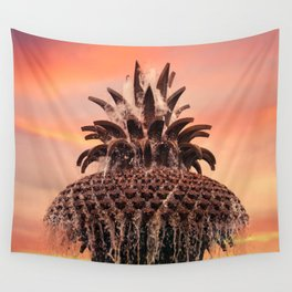 Pineapple Fountain Pink Wall Tapestry