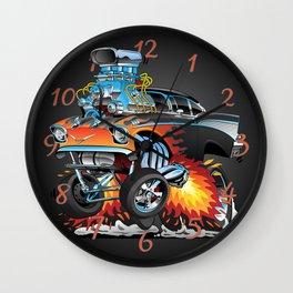 Classic hotrod 57 gasser drag racing muscle car cartoon Wall Clock