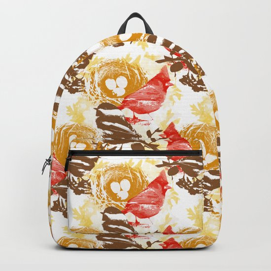 Cardinal Chickadee Pattern Backpack
