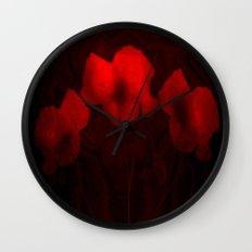 Poppies aglow Wall Clock