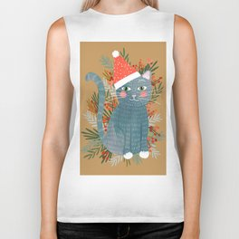 Blue Cat cute christmas xmas tree holiday funny cat art cat lady gift unique pet gifts Biker Tank