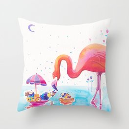Flamingo Print - Ice-cream Party Throw Pillow