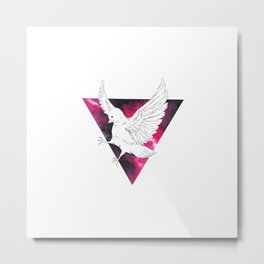 Triangle Galaxy Bird Metal Print