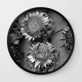 Artichokes, black-and-white photography Wall Clock