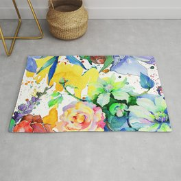Watercolor Floral Pattern In Lilac, Yellow & Blues Rug