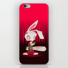Horror bunny with chainsaw. iPhone Skin