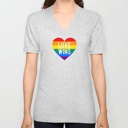 Love wins rainbow heart Unisex V-Neck