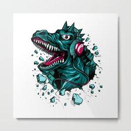 Dino with Headphones Green Cyprus Metal Print