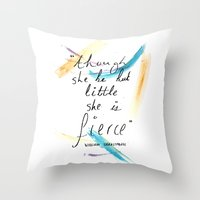 though she be but little Throw Pillows featuring Though She Be But Little by rapunzette