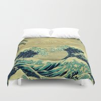 asian Duvet Covers featuring The Great Blue Embrace at Yama by Kijiermono