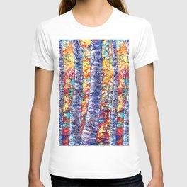Autumn Aspen Trees Contemporary Painting T-shirt