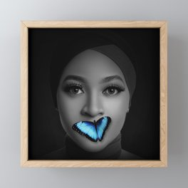 Beautiful Woman & Blue Butterfly Framed Mini Art Print