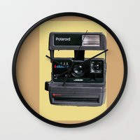 polaroid Wall Clocks featuring Polaroid  by Dora Birgis