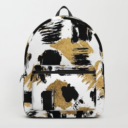 Artistic abstract black gold watercolor brushstrokes Backpack