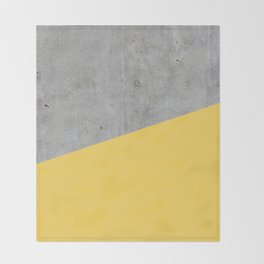 Concrete and Primrose Yellow Color Throw Blanket