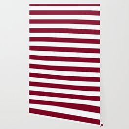 Burgundy - solid color - white stripes pattern Wallpaper