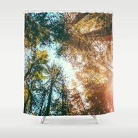 sun Shower Curtains featuring California Redwoods Sun-rays and Sky by Elena Kulikova