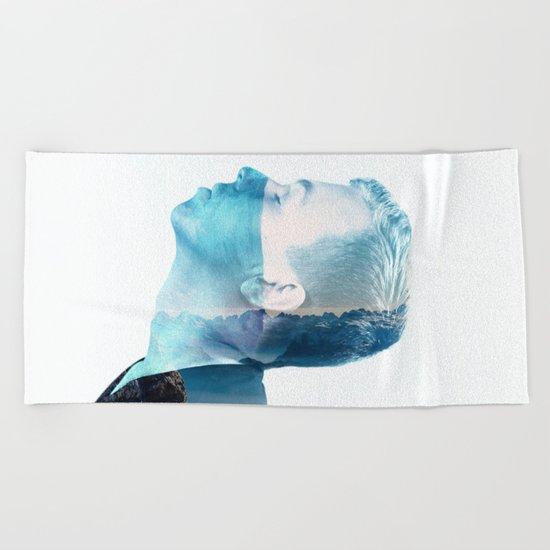 double exposure Face Beach Towel
