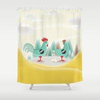 chicken Shower Curtains featuring Chicken by Ewelina Gaska