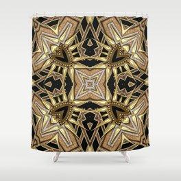 Black Gold Geometric Love Shower Curtain