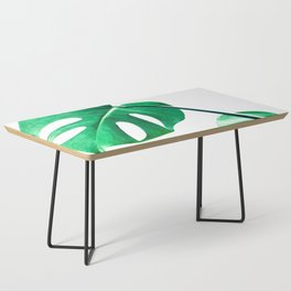 Green monstera leaves tropical illustration Coffee Table