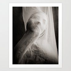 Lost in a Long White Scarf Art Print