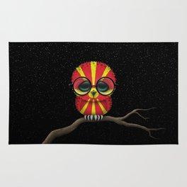 Baby Owl with Glasses and Macedonian Flag Rug