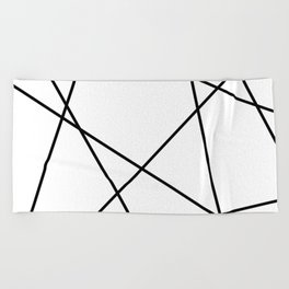 Lines in Chaos II - White Beach Towel