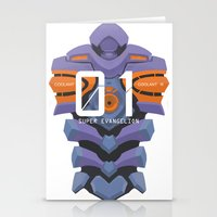 evangelion Stationery Cards featuring EVANGELION ANIMA UNIT 01 BACK by F4LLEN_LEAF