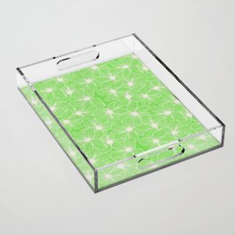02 White Flowers on Green Acrylic Tray