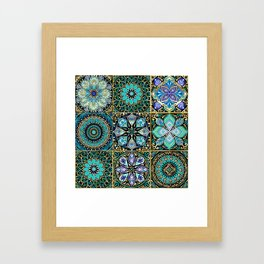 Colorful floral seamless pattern from squares Framed Art Print