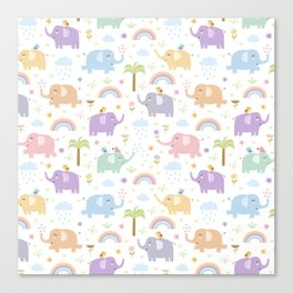 Summer blue gray violet mint green hand painted tropical elephants Canvas Print