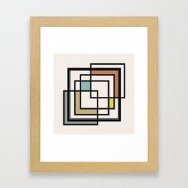 Mid Century Modern Squares Framed Art Print