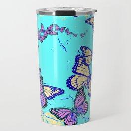 Blue Butterflies Blue & Purple Pattern Abstract Travel Mug