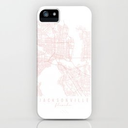 Jacksonville Florida Light Pink Minimal Street Map iPhone Case