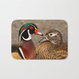 A Touching Moment Between Wood Duck Lovebirds Bath Mat