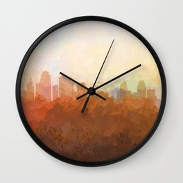 Kansas City, Missouri Skyline - In the Clouds Wall Clock
