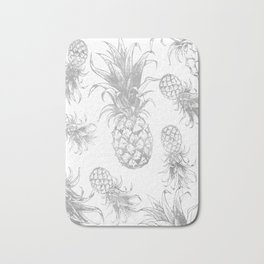 grayscale pineapple pattern, vintage tropical desing Bath Mat