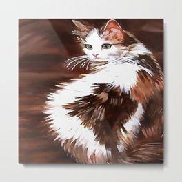Elegant Long Haired Bi-Colored Cat Metal Print