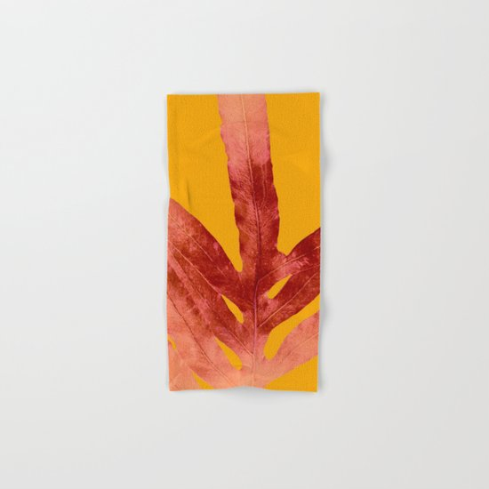 Green Fern on Red On Fire Hand & Bath Towel